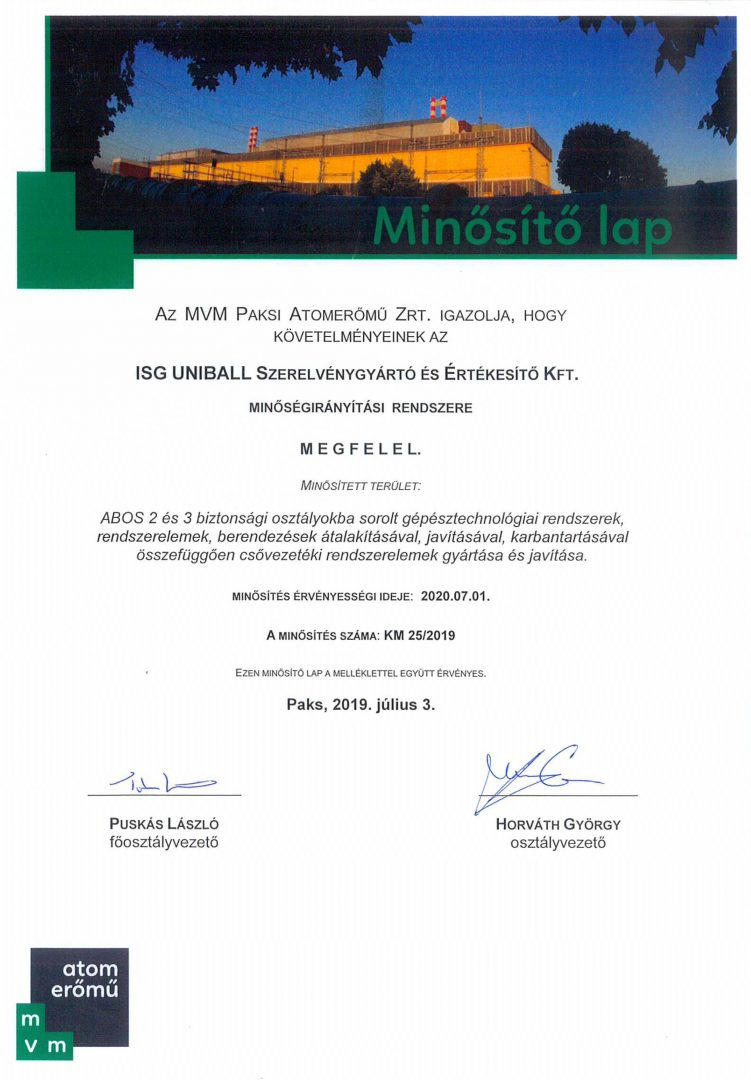 MVM Paks Nuclear Power Plant Ltd. Certification Approval